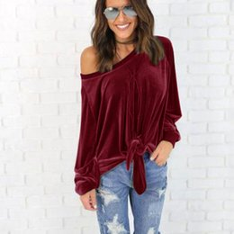 Wholesale Womens Long Tunic Tops - Sexy Off Shoulder women Blouses Shirt womens Spring Autumn Long Sleeve Solid Color Tunic Shirt Velvet Tops Blusas Camisas Mujer Gray S-2XL