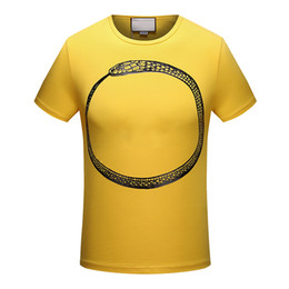 Wholesale Top Tees Brand - 2018 summer new high-end men's brand t-shirt fashion short sleeve snake printing fashion t shirt Men's Tops Tees