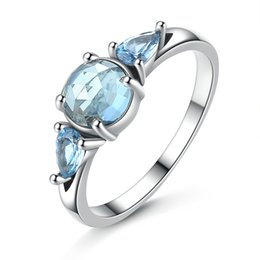 Wholesale Moonlight Weddings - 925 Sterling Silver Pandora Ring Moonlight Blue and Sky Blue Crystal Finger Ring Women Wedding Accessories Valentine's Day Gifts