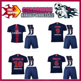 Wholesale moisture measuring - 2018 Paris neymar men's short-sleeved suit football jersey 18 19 home VERRATTI CAVANI DI MARIA PASTORE MAILLOT DE FOOT measuring shirt + soc