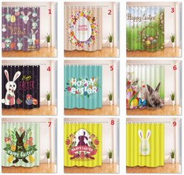 Wholesale Print Curtains - Easter 3D Printed Bathroom Shower Curtains Deceration Der Osterhase HASE Curtains 180*180cm 180*210cm z118