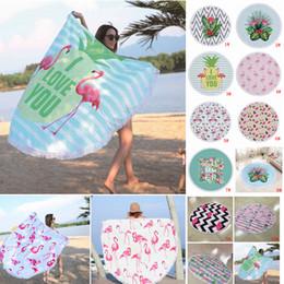 Wholesale padded bath mat pad - 11 Colors 150*150cm Round Flamingo Print Beach Towel Polyester Tassel Outdoor Picnic Pads Blanket Swimming Bath Towels Shawl Yoga Mat AAA488