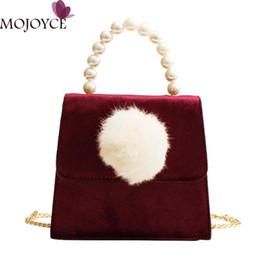 badd07a722bb pearl pink clutch bag Coupons - Women Velvet Handbag Pompom Ball Flap  Messenger Handbags Female Evening