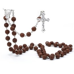 Wholesale Rosary Saints - whole saleCross Jesus Pray necklace Red AcryliBeads rosary Cross Jesus Religious necklace Mercy Saint Icons Religious jewelry Rosary