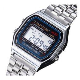 Assistir a159w on-line-Venda quente Multifuncional WR F91W Moda Relógios pulseira de metal LED Mudança de Relógio Esporte A159W Relógio Para O Estudante Crianças por niubilidade