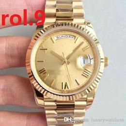 relojes mujer amarilla impermeable Rebajas Nuevo Reloj para hombre Movimiento automático automático Día-Fecha Oro Stainess Acero Cristal de zafiro Relojes para hombres Relojes de pulsera luminosos
