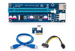 Wholesale pci e 1x riser adapter - 006C PCIe PCI-E PCI Express Riser Card 1x to 16x USB 3.0 Cable Adapter SATA to 4Pin IDE Molex 6 pin