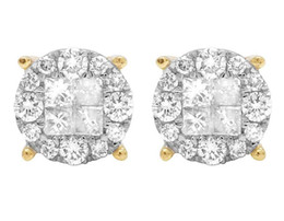Wholesale earring stud yellow gold - 14K Yellow Gold Genuine Diamond Princess Quad Round Stud Earring 1 1 4 Ct 8MM