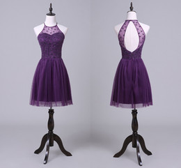 Wholesale Hung Back Dress - Elegant Hanging Neck Purple Prom Dresses Short Back Hollow Tulle Party Pleated Skirt Europe And The United States Cocktail Dresses HY1821
