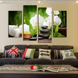 Wholesale Orchid Paintings Canvas - New Modular Pictures 4 Panel Moderm Home Decoration Combinative Canvas Painting White Orchid Stone For Living Room Free Shipping