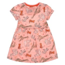 Wholesale korean summer clothes fashion wholesale - Everweekend Girls Animal Print Ruffles Cotton Dress Cute Baby Pink Color Clothes Lovely Kids Korean Fashion Summer Holiday Dress