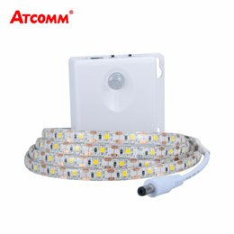 Wholesale Diode Ribbon - 2835 RGB LED Motion Sensor Strip Light IP65 Waterproof Timing Function Use 3*AA Battery Induction Diode Ribbon Tape Light