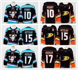 2019 хоккейные бренды 2018 Анахайм утки #10 Кори Перри #15 Райан Гетцлаф #17 Райан Кеслер пустой новый бренд хоккейные майки мужчины сшитые черные хоккейные майки S-3XL дешево хоккейные бренды