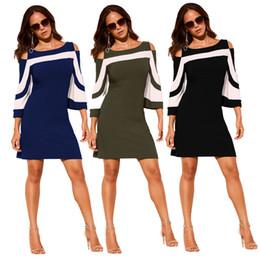 73049231723 Office Ladies Work Wear Robes Élégant Noir Blanc Colorblock 3 4 Manches  Dress Casual 2018 printemps Vestidos habillement en robe noire pas cher