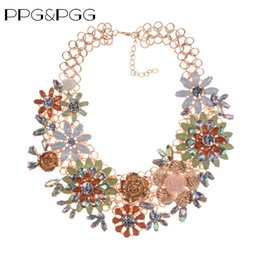 Wholesale chunky chain collar - PPG&PGG Fashion Statement Flower Women Crystal Vintage Chunky Chain Collar Choker Necklace Big Heavy Multicolor Jewelry Necklace