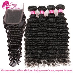Wholesale deep wave perm - Malaysian Deep Curly Lace Closure With Bundles Malaysian Natural Wave Hair Weaves Virgin Hair Lace Closure Free Part Middle Part Three Part