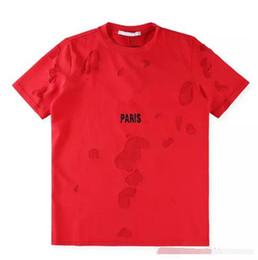 Wholesale Men Wearing Holes Shorts - Wholesale 18ss Summer Street wear Europe Paris Fashion Men High Quality Big Broken Hole Cotton Tshirt Casual Women Tee T-shirt S-XL