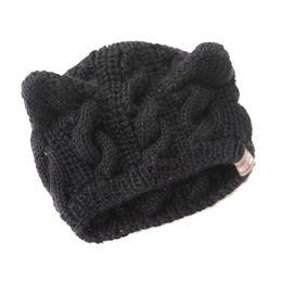 2019 chapéu das orelhas do diabo Mulheres Diabo Chifres Cat Ear Crochet Trançado De Malha Ski Hat Cap Lã, Preto desconto chapéu das orelhas do diabo
