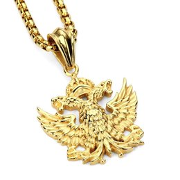 Wholesale Russian Silver Jewelry - 2018 New Steel Pendant Necklace Russian Double-headed Eagle Statement Necklaces Chain Gold Hiphp Fashion Jewelry Men Women Gift
