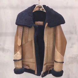 Wholesale Leather Brown Jacket Women - Black Brown Color Bale Motorcycle Leather Jacket Fur Neck Lapel Zipper Coat Men Women Fashion Winter Outerwear HFYTPY001