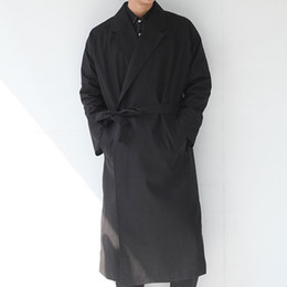 Wholesale Men S Belted Trench Coat - 2016 Men clothing new spring british style ultra long paragraph trench no button lacing coat cloak male lengthen cloak costumes