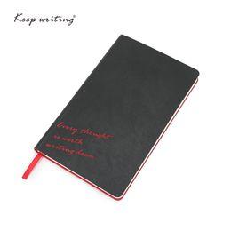 2019 livros de bolso chineses LOGOTIPO Personalizado caderno Preto diário A5 Diário PU de couro capa mole alinhado páginas planejador papelaria escola papel 100gsm