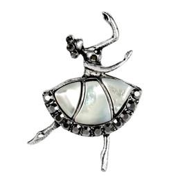 Argentina Abalone Shell Ballet girl Broches Sombrero Accesorios Bufanda Clip Hombro Decoración Vintage Joyería Anti color plata Broche Pin supplier silver scarf clip Suministro
