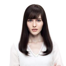 Peluca blanca larga recta completa online-Pelucas llenas del cordón Cabello humano corto largo 100% pelucas de Bob para las mujeres blancas negras 150 Density Pelo brasileño del pelo de Remy Color natural # 2 pelucas