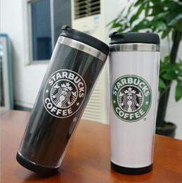Wholesale Coffee Cups Mugs - Starbucks Double Wall Mug Flexible Cups Coffee Cup Mug Tea Travelling Mugs Tea Cups Wine Cups 2 color KKA4220