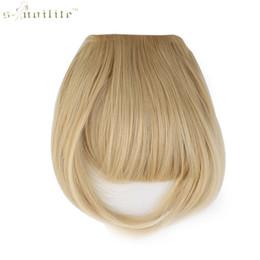 une pièce clip extensions de cheveux blonds Promotion SNOILITE Clip Synthétique Femme En Frange Extensions de Cheveux Franges Devant sur Brun Noir Blonde Une pièce seulement