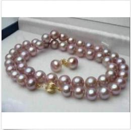 Insiemi reali di collane di perle online-10-9mm Reale Naturale Viola Akoya Collana di perle orecchino Set di gioielli 18 pollici