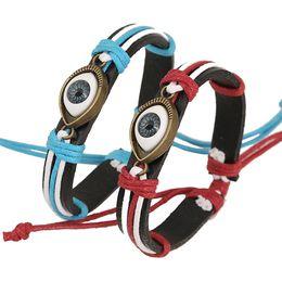 Bracelets de style nouveau style en Ligne-4 styles approvisionnement Cool New Véritable Bracelet En Cuir Bijoux Bracelet Manchette En Étain Métal Turquie Eye Ball Bracelets livraison gratuite