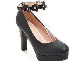 Туфли на каблуках онлайн-Бесплатно отправить горячий водонепроницаемый стол грубый каблук на высоком каблуке один обувь большой размер женская обувь 40 -- 45 маленький код 33