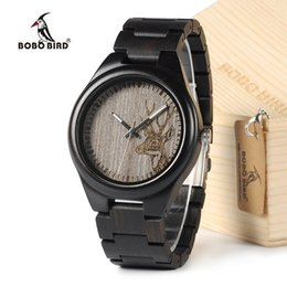 Wholesale Wood Wrist Watch Mens - BOBO BIRD I26 Mens Unique Ebony Wooden Watches Deer Head Dial Casual Quartz Wrist Watches With Wood Links In Gift Watch Box
