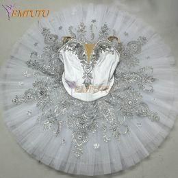 Traje de cascanueces online-Blanco Plata adulto Ballet Tutu Profesional Snow Queen Pancake Funcionamiento del ballet del cascanueces Tutus Escenario traje de las mujeres