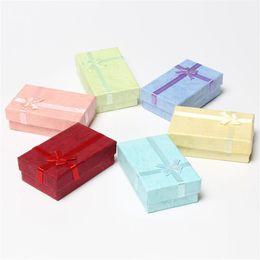 Wholesale Gift Satin Ribbon - 48pcs lot 5cmx8cm Display Box Cardboard Necklace Earrings Ring Box Packaging Gift Box with Sponge & Satin Ribbon