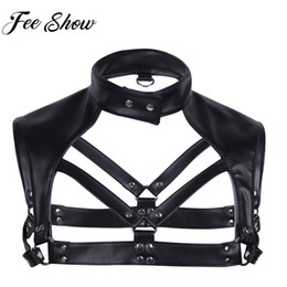 lencería caliente metal Rebajas Hot Sales Men Lingerie Faux Leather Ajustable Body Harness Harness Bondage Disfraz con Metal Gargantilla Neck Press Buttons