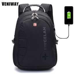 Wholesale Cross Backpack - VENIWAY Large Capacity Waterproof Laptop Usb Charge Siwss Cross Gear Backpack Business Backpacks Daily Travel Bag Boys Schoolbag