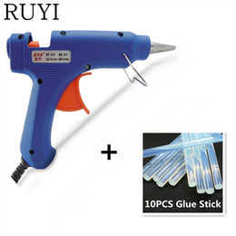 Wholesale Melt Glue Sticks - Wholesale-DIY Gadgets 20W 100-240V Professional Mini Electric Heating Hot Melt Glue Gun With 6 PCS Glue Sticks