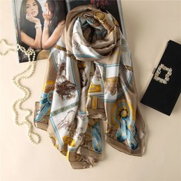 Wholesale Elegant Horse - Wholesale- Top grade Luxury brand New Europe Style Horse Carriage chain Women silk Scarf elegant Shawl autumn warm Sunscreen soft scarves