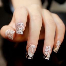 2019 3d spitze nagelaufkleber 3D White Lace Diamant Blume Aufkleber Nail Art Tipps Braut Aufkleber Wasserdicht Braut Nagel Decals günstig 3d spitze nagelaufkleber