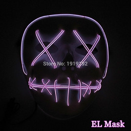 Wholesale Masquerade Mask Decor - Glowing Sound Activated 10 colors Select EL Skull Face Masquerade Mask Halloween Mask Party Decor LED Neon Light Terrified