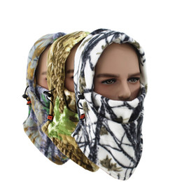 зима теплая езда на велосипеде камуфляж маски тактический капюшон шарф спорта на открытом воздухе маска велосипед велоспорт флис шляпа Балаклава сноуборд шапочки от