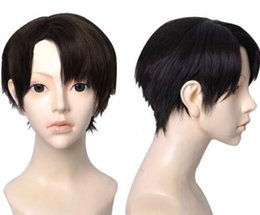 Wholesale attack titan wigs - Attack on Titan Levi Wig Short Black Synthetic Hair Cosplay Wigs