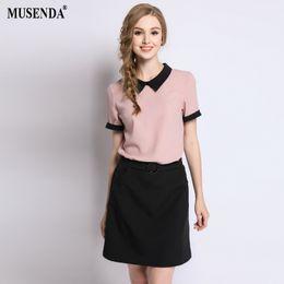 34bab77c675f MUSENDA Plus Size Women Pink Tops Black Elastic Waist Skirts 2018 Summer  Female Casual Fashion Two Piece Sets Clothing Suit 5XL