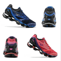 Wholesale classic wave - 2018 Mizuno Wave Prophecy 5 Top Running Shoes Men women Blue Red Originals Mizuno 5s Classic Discount Sneakers Free Shipping