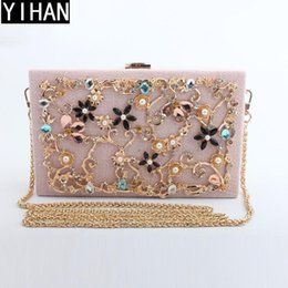 Wholesale Fashion Trend Evening - Factory independent brand handbags fashion exquisite diamond evening dinner package trend cotton and linen alloy hard box chain bag wedding