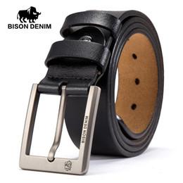cb2c0c7c891 BISON DENIM Cowskin Belt Men Accessories Cowboy Genuine Leather Belts For  Men Vintage Pin Buckle Mens Belts Gift For Man N71015