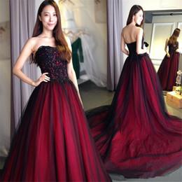 Shop Gothic Burgundy Black Wedding Gowns UK | Gothic Burgundy Black ...