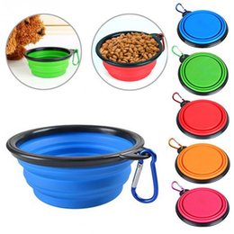 Wholesale Hot Dogs Food - Hot New Silicone Folding dog bowl Expandable Cup Dish for Pet feeder Food Water Feeding Portable Travel Bowl portable bowl with Carabiner